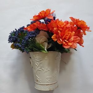 Country Flower Bouquet in Rusty Country Pot